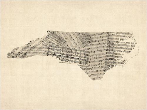 Sheet Music North Carolina United States Map Poster Art Print