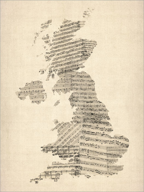 Sheet Music United Kingdom Map Poster Art Print