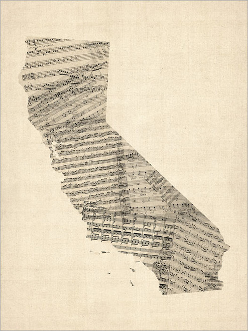 Sheet Music California United States Map Poster Art Print