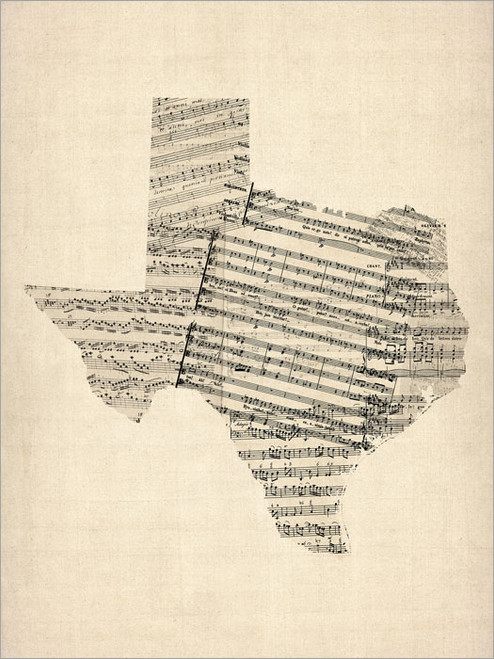 Sheet Music Texas Map Poster Art Print