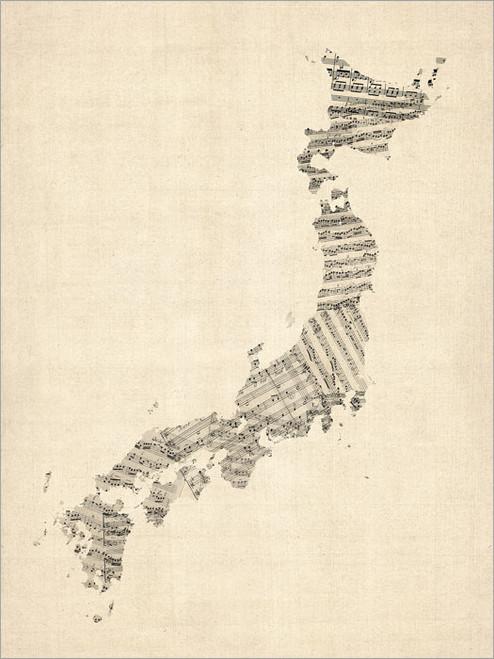 Sheet Music Japan Map Poster Art Print