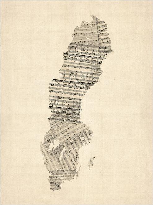 Sheet Music Sweden Map Poster Art Print