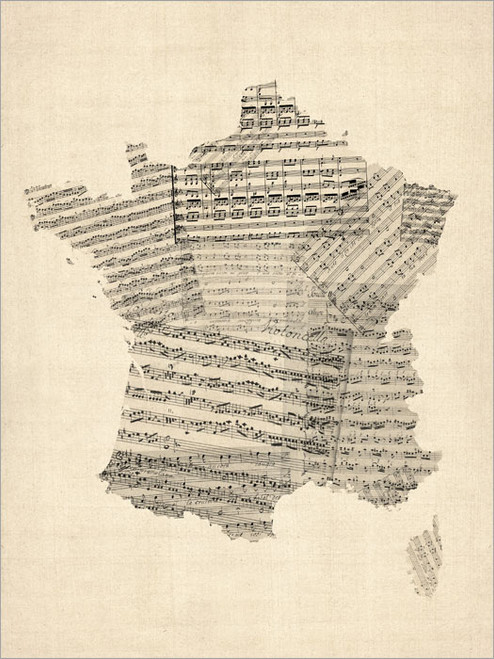 Sheet Music France Map Poster Art Print