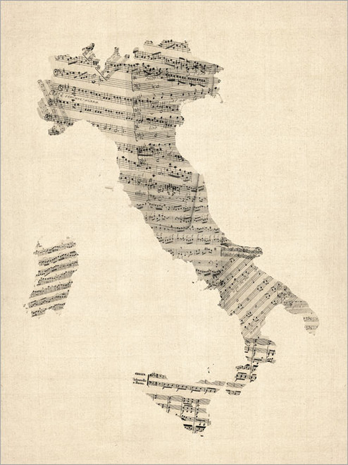 Sheet Music Italy Map Poster Art Print