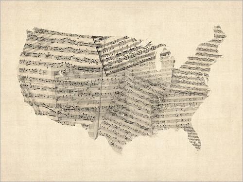 Sheet Music United States Map Poster Art Print