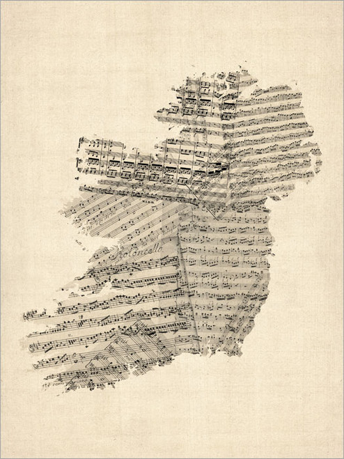 Sheet Music Ireland Map Poster Art Print