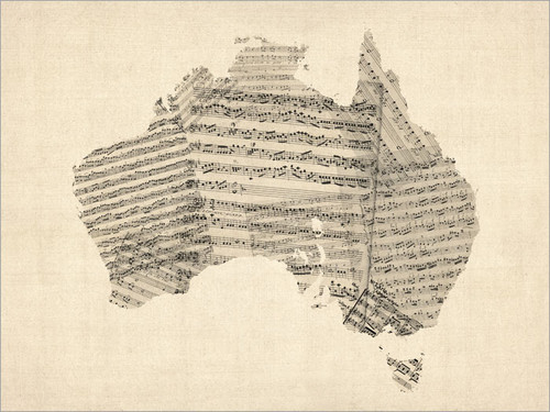 Sheet Music Australia Map Poster Art Print