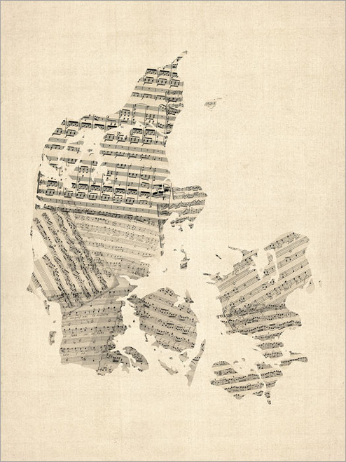Sheet Music Denmark Map Poster Art Print