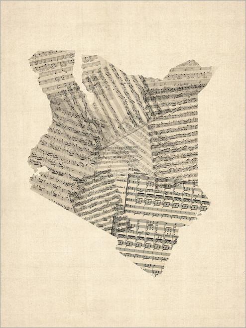 Sheet Music Kenya Map Poster Art Print