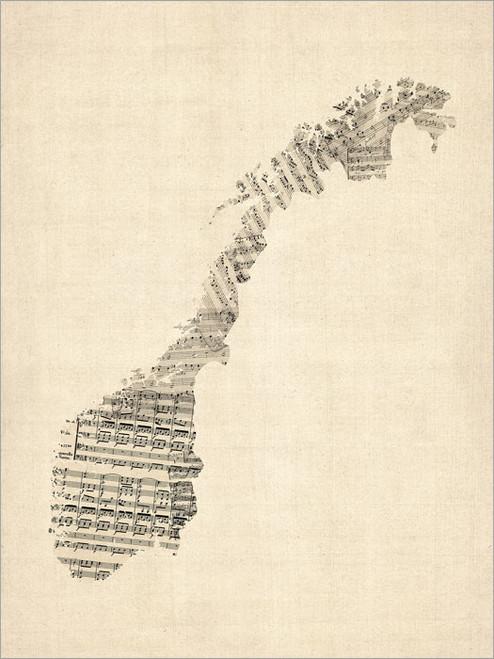 Sheet Music Norway Map Poster Art Print