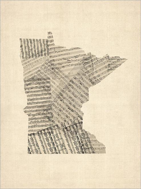 Sheet Music MInnesota United States Map Poster Art Print