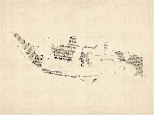 Sheet Music Indonesia Map Poster Art Print