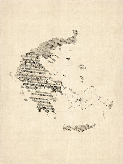 Sheet Music Greece Map Poster Art Print