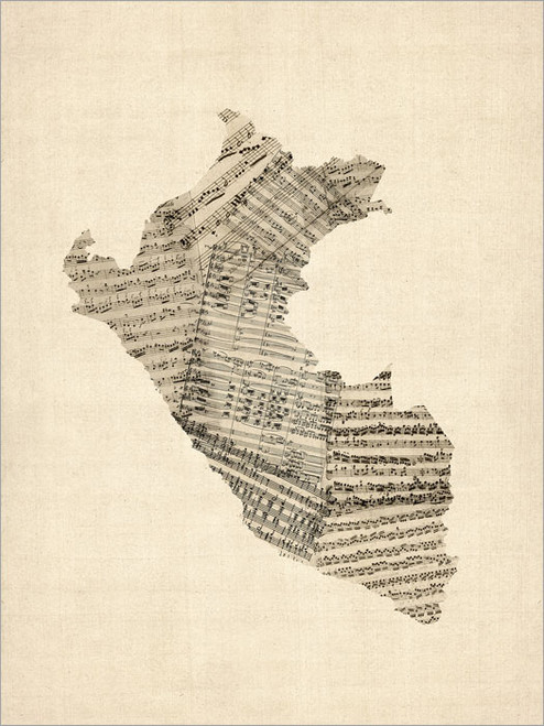 Sheet Music Peru Map Poster Art Print