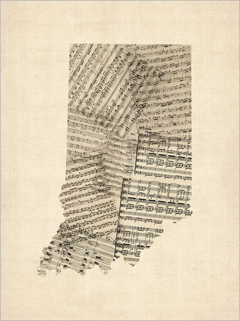 Sheet Music Indiana United States Map Poster Art Print