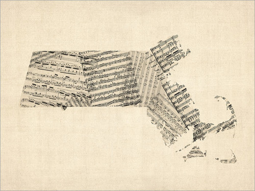 Sheet Music Massachusetts United States Map Poster Art Print