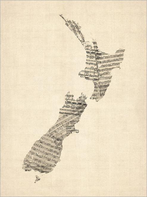 Sheet Music New Zealand Map Poster Art Print