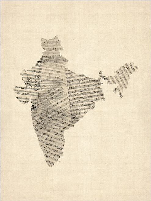 Sheet Music India Map Poster Art Print