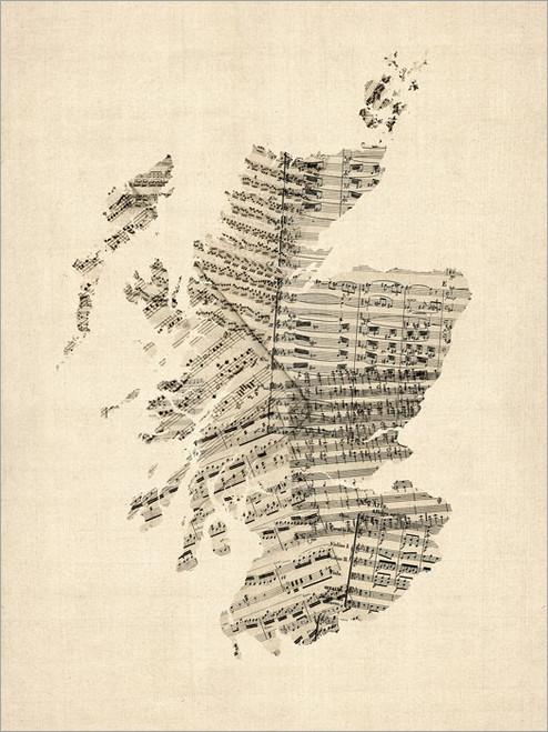 Sheet Music Scotland United Kingdom Map Poster Art Print