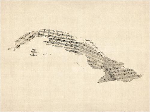 Sheet Music Cuba Map Poster Art Print
