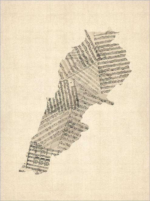 Sheet Music Lebanon Map Poster Art Print