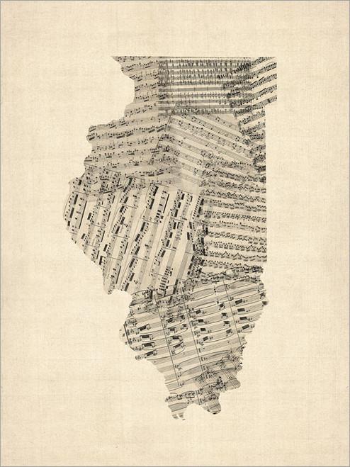 Sheet Music Illinois United States Map Poster Art Print