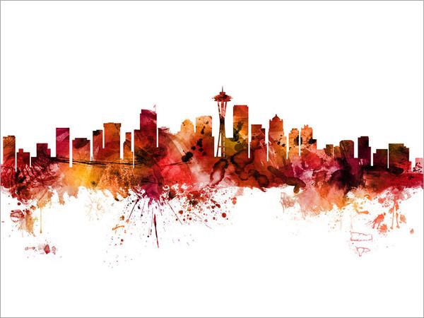 Seattle Washington Skyline Cityscape Poster Art Print
