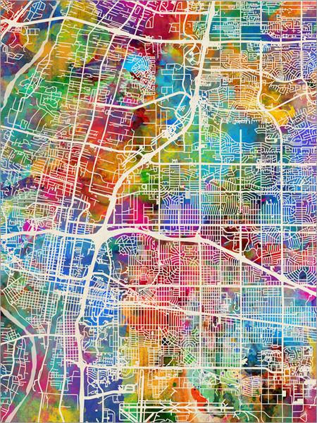 Albuquerque New Mexico Map Poster Art Print
