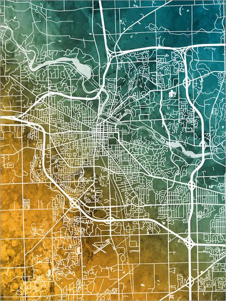 Ann Arbor Michigan Map Poster Art Print