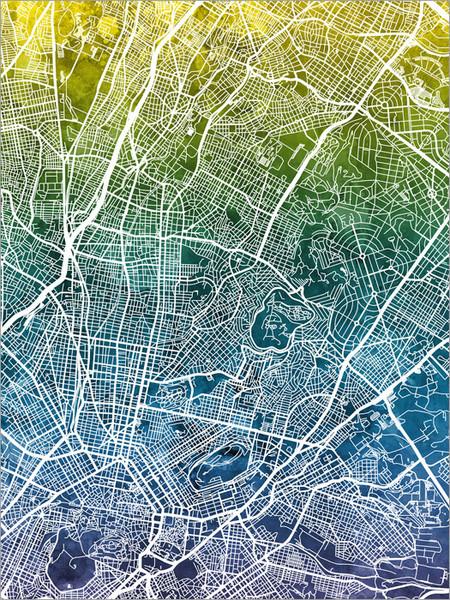 Athens Greece Map Poster Art Print