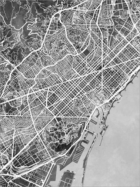 Barcelona Spain Map Poster Art Print