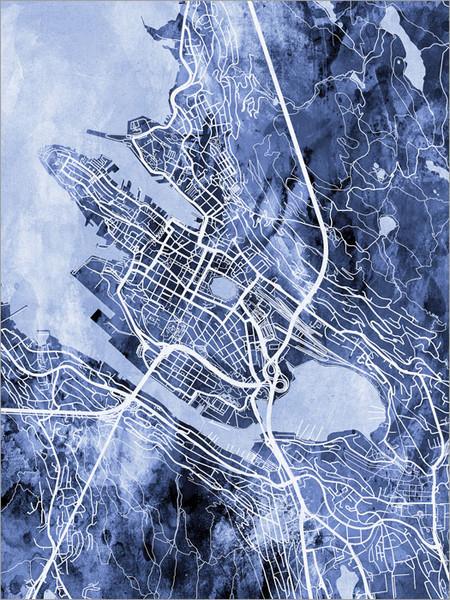 Bergen Norway Map Poster Art Print