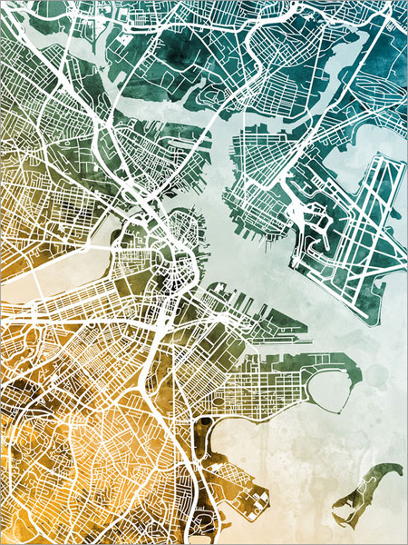 Boston Massachusetts Map Poster Art Print