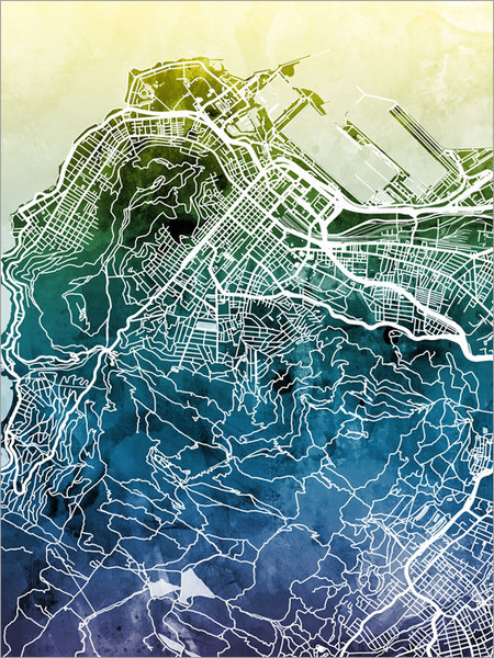 Cape Town South Africa Map Poster Art Print
