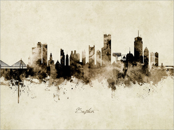Boston Massachusetts Skyline Cityscape Poster Art Print