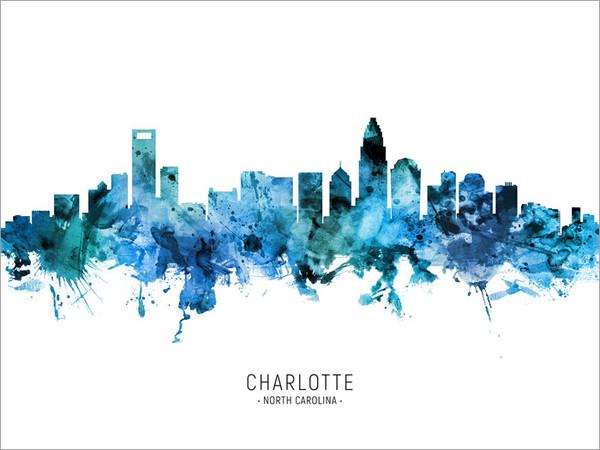 Charlotte North Carolina Skyline Cityscape Poster Art Print