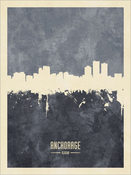 Anchorage Alaska Skyline Cityscape Poster Art Print