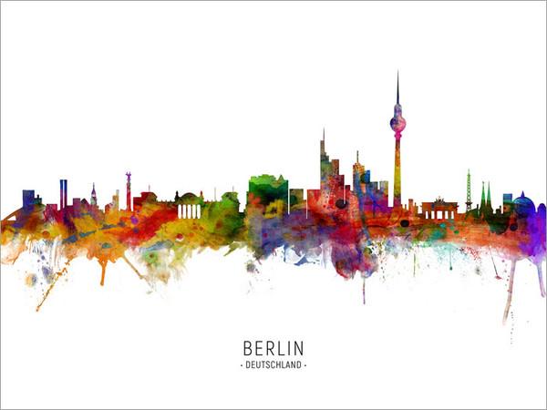 Berlin Deutschland Skyline Cityscape Poster Art Print