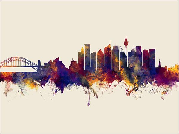 Sydney Australia Skyline Cityscape Poster Art Print