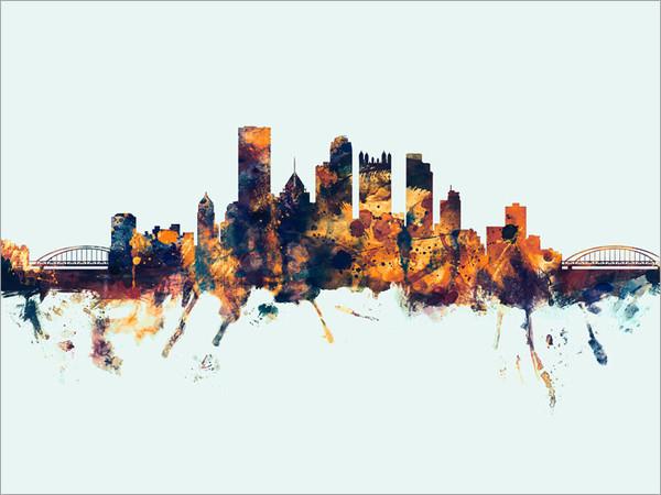 Pittsburgh Pennsylvania Skyline Cityscape Poster Art Print