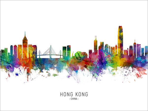 Hong Kong China Skyline Cityscape Poster Art Print
