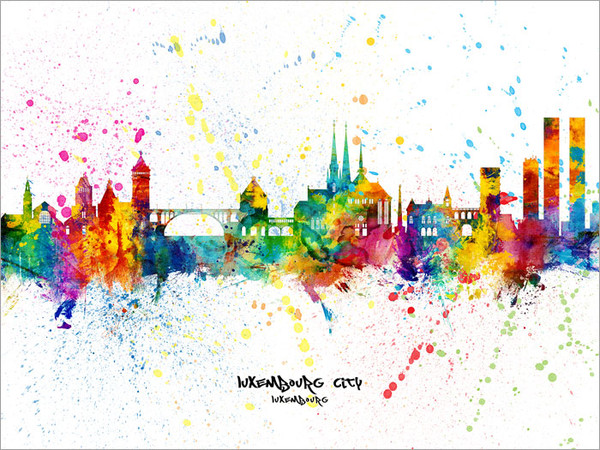 Luxembourg City Luxembourg Skyline Cityscape Poster Art Print