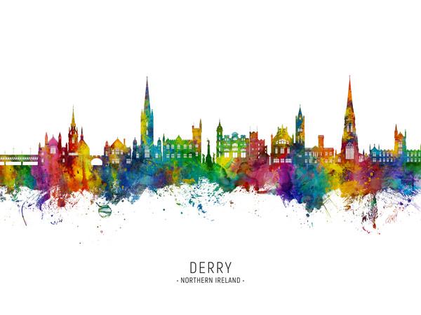 Derry Northern Ireland Skyline Cityscape Poster Art Print