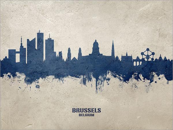 Brussels Belgium Skyline Cityscape Poster Art Print