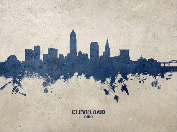 Cleveland Ohio Skyline Cityscape Poster Art Print