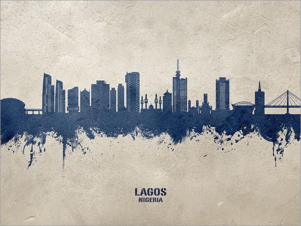 Lagos Nigeria Skyline Cityscape Poster Art Print