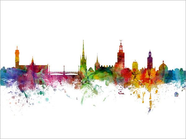 Stockholm Sweden Skyline Cityscape Poster Art Print