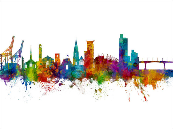 Southampton England Skyline Cityscape Poster Art Print