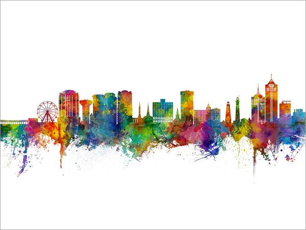 Virginia Beach Virginia Skyline Cityscape Poster Art Print