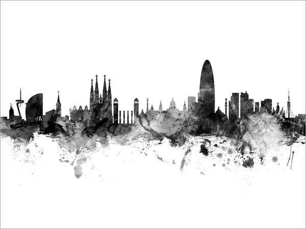 Barcelona Spain Skyline Cityscape Poster Art Print